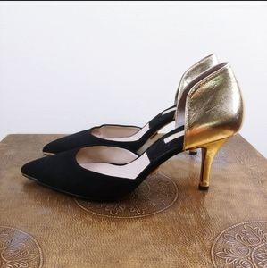 Michael Kors Gold and Black Suede D'orsay heels